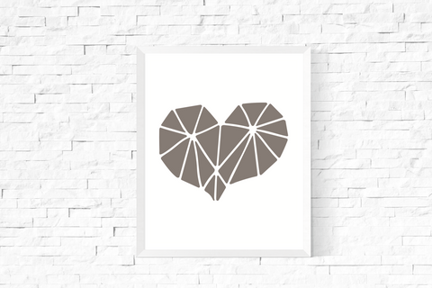Geometric Heart Art Printable Grey and White