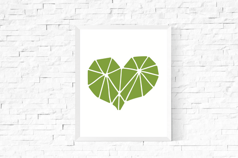 Geometric Heart Art Printable Green and White