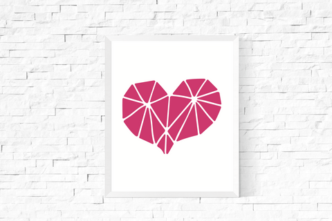 Geometric Heart Art Printable Pink and White