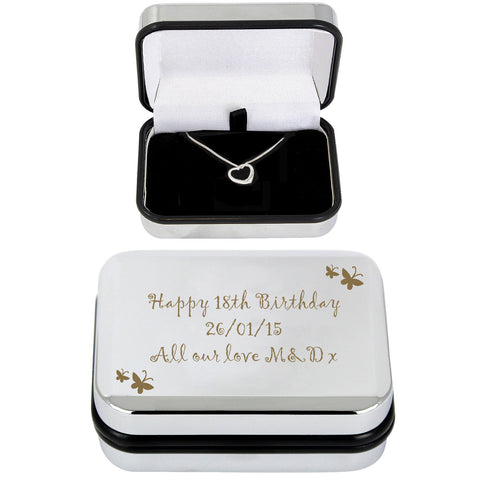 Personalised Butterfly Heart Necklace and Box Gift