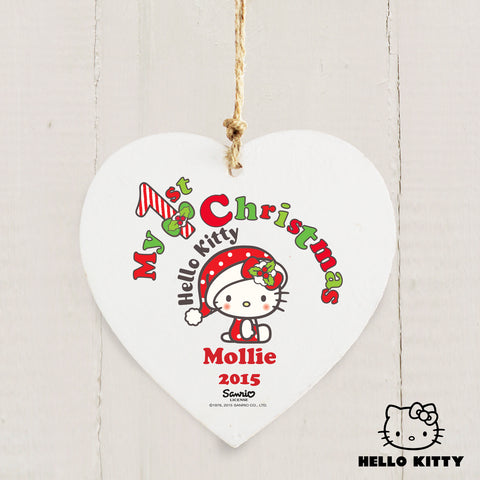 Personalised Hello Kitty My 1st Christmas Heart Decoration