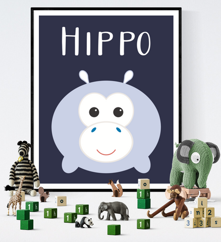 Cute Kawaii Hippo Art Printable