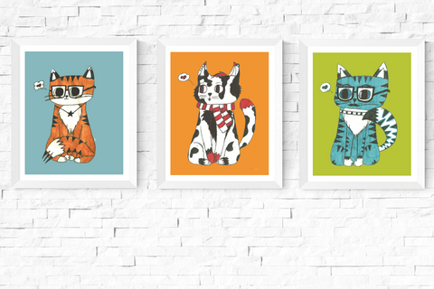 Hipster Cats Art Printables Set of 3