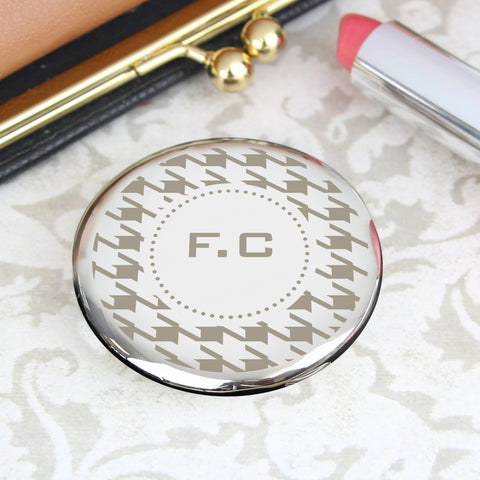 Personalised Houndstooth Compact Mirror Gift