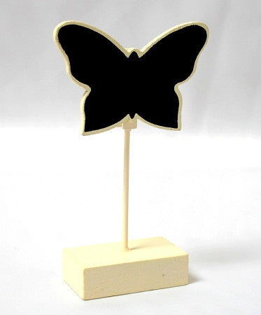 Ivory Butterfly Blackboard Place Card Holders 6PK