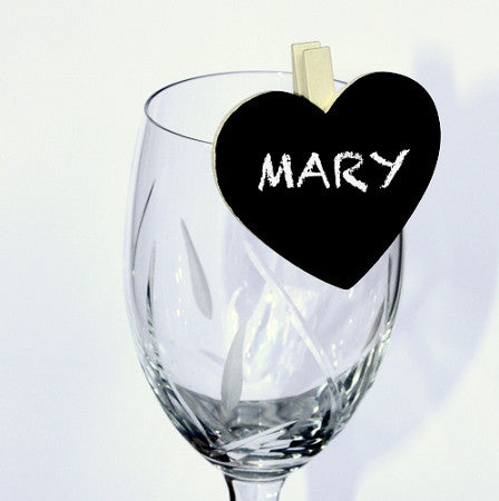 Ivory Clip Heart Blackboard Place Card Holders 6PK