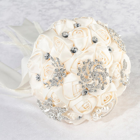 Ivory Crystal Flower Bridal Bouquet