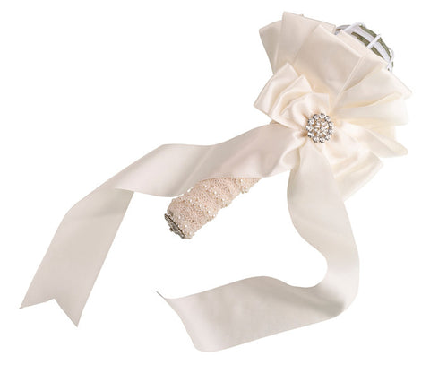 Ivory Satin Bouquet Holder