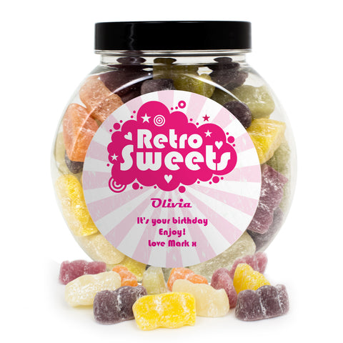 Personalised Retro Pink Jelly Babies Sweet Jar Gift