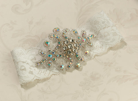 Jewelled Wedding Garter Ivory