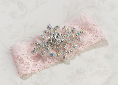 Jewelled Wedding Garter Pink