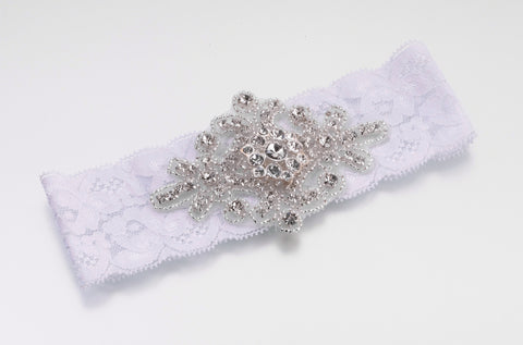 Jewelled Wedding Garter White