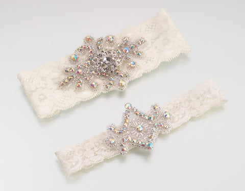 Jewelled Wedding Garters Ivory 2PK