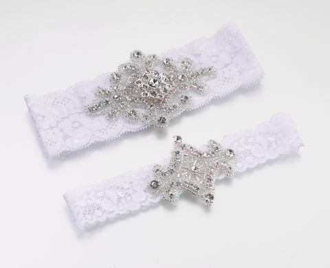 Jewelled Wedding Garters White 2PK