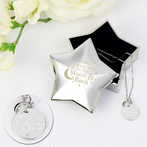 Engraved Moon and Back Star Trinket Box & Silver Pendant Gift Set