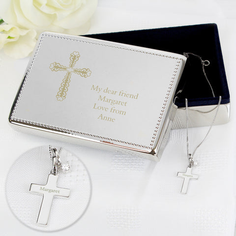 Engraved Jewellery Box & Silver Cross Pendant Gift Set