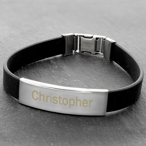 Personalised Rubber and Steel Bracelet