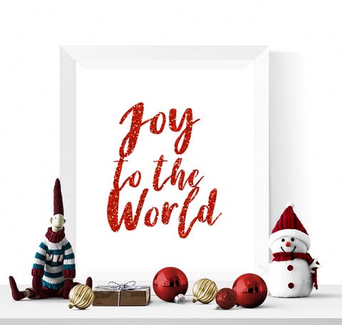 Joy to the World Christmas Printable Red Glitter