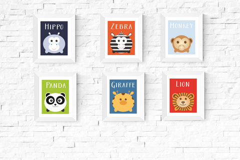 Cute Kawaii Safari Animal Printables Set of 6