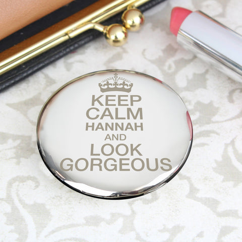 Personalised Keep Calm Compact Mirror Gift