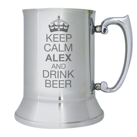 Personalised Keep Calm Stainless Steel Tankard Present