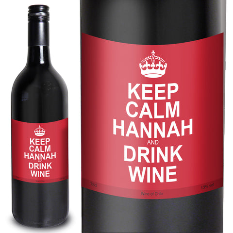 Personalised Keep Calm Red Wine Present
