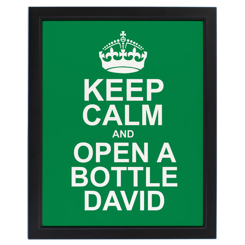 Personalised Keep Calm Framed Print Green