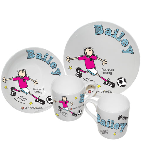 Personalised Bang on the Door Football Crazy Breakfast Set Gift