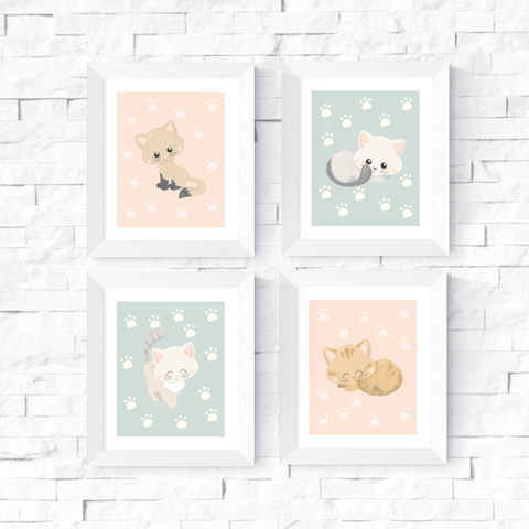 Cute Kitten Art Printables Set of 4