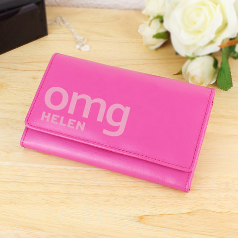 Personalised Pink OMG Slogan Purse Gift