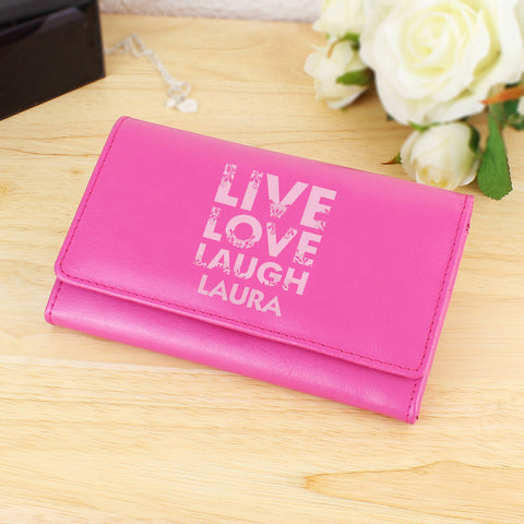 Personalised Pink Live Laugh Love Pink Purse Present