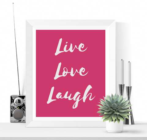 Live Love Laugh Art Printable Pink Yarrow