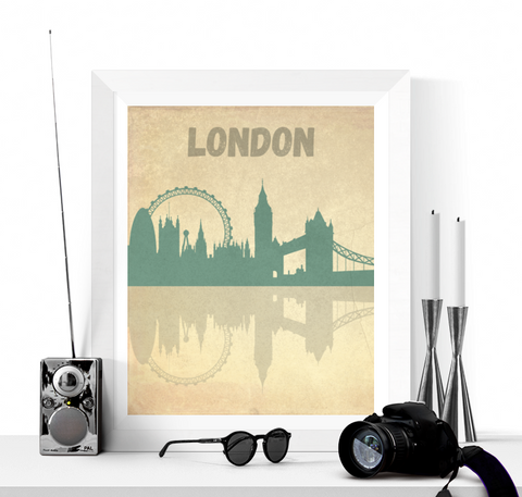 London Skyline Vintage Style Art Printable
