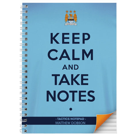 Personalised Manchester City Keep Calm A4 Notebook Gift