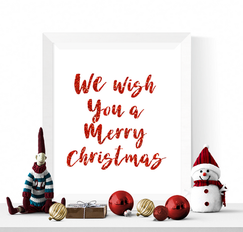 We Wish You A Merry Christmas Printable Red Glitter