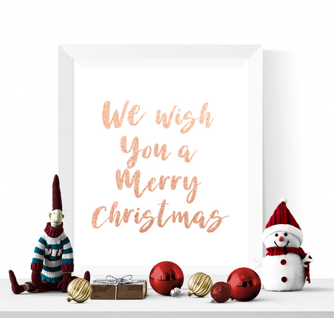 We Wish You A Merry Christmas Printable Rose Gold