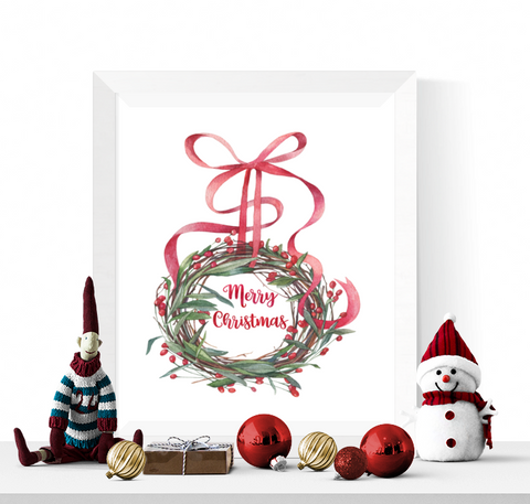 Watercolour Wreath Merry Christmas Printable Decoration