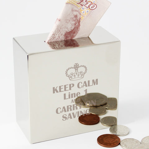 Personalised Keep Calm Square Money Box Gift