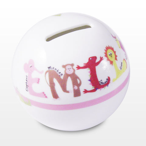 Personalised Pink Animal Money Box Gift