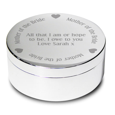 Personalised Mother of the Bride Round Trinket Box Gift