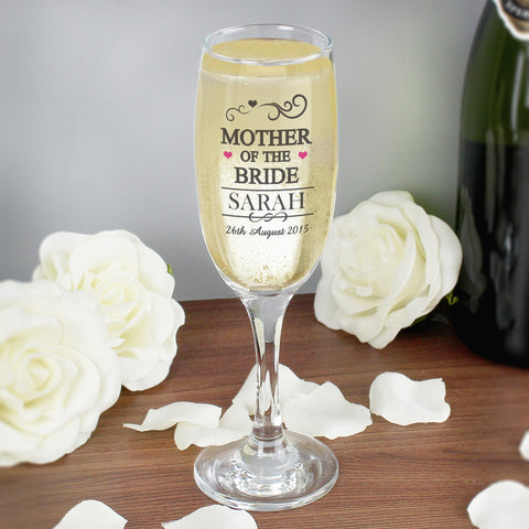 Personalised Mr and Mrs Mother of the Bride Glass Champagne Flute