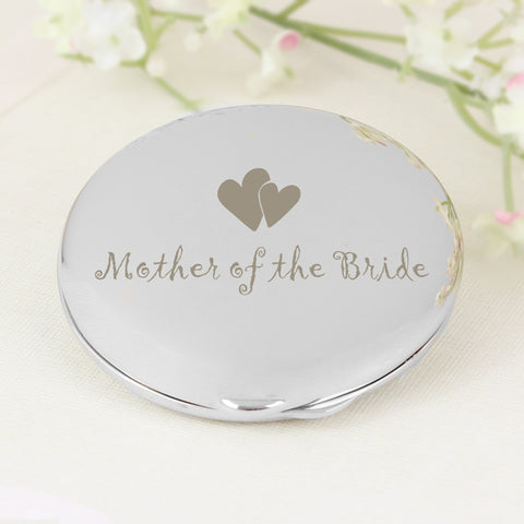 Mother of Bride Round Compact Mirror Present