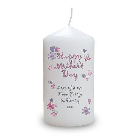 Personalised Flowers and Butterflies Happy Mother's Day Candle