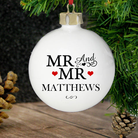 Personalised Mr and Mr Christmas Bauble