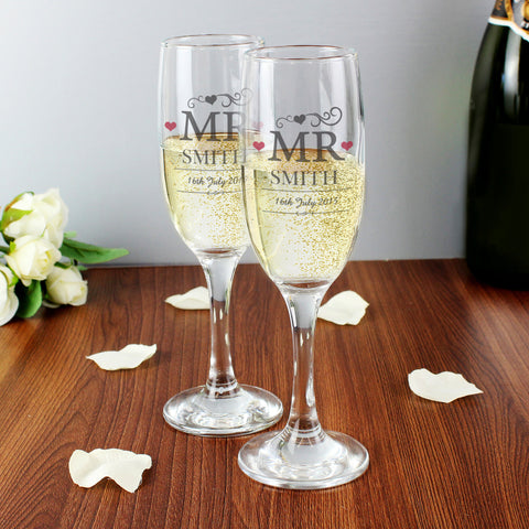 Personalised Mr and Mr Pair of Champagne Flutes Gift