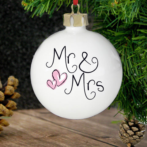 Personalised Mr and Mrs Bauble Gift