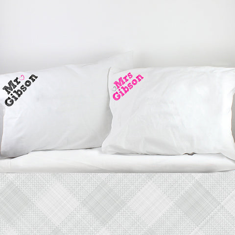 Personalised Mr and Mrs Pillowcases Present
