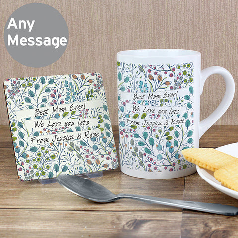 Personalised Botanical Mug and Coaster Set