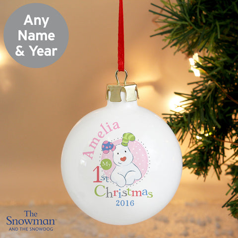 Personalised The Snowdog My 1st Christmas Bauble Pink
