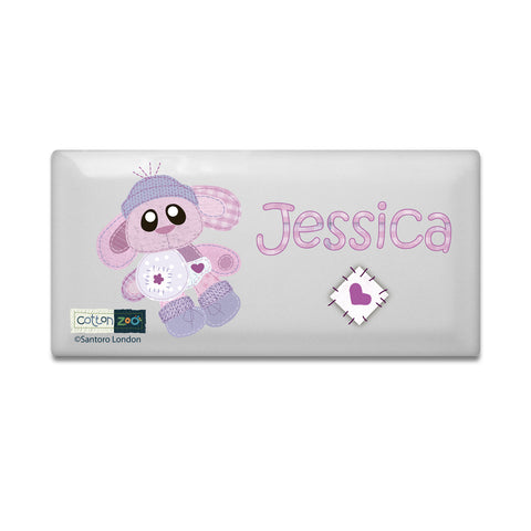 Personalised Cotton Zoo Bobbin The Bunny Door Plaque Gift